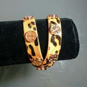 Leopard leather wrap bracelet